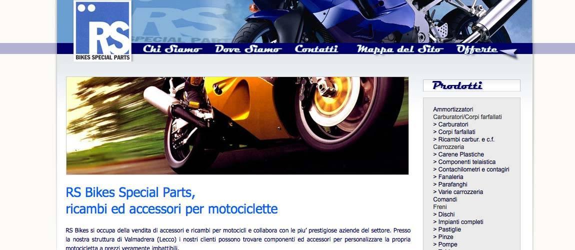 RS BIKES Special Parts Valmadrera, Realizzazione sito web