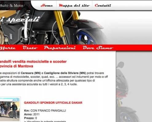 Moto Gandolfi, Realizzazione sito web Negozio vendita Motociclette